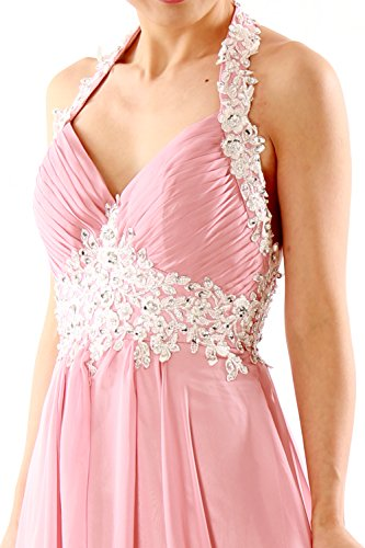 MACloth Women Halter V Neck Lace Chiffon Long Prom Party Dress Fromal Ball Gown Ash Pink