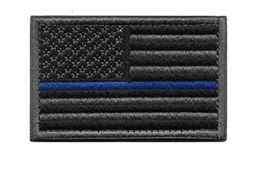 Tactical American Flag Patch Thin Blue Line Embroidered Military Uniform Emblem with Hook and Loop (Black & Grey) (Grey Military Uniforms)