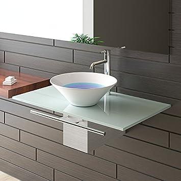 Waschtisch Glas waschplatzlösung milchglasplatte keramikbecken badmöbel aus