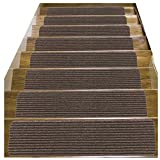 14 Pack-(8''x30''),Stair Treads Carpet Indoor, Anti Slip Stair Mats Collection, Skid Resistant Rubber Backing for Child Proofing/Pet Safety/Elderly Safety, Brown