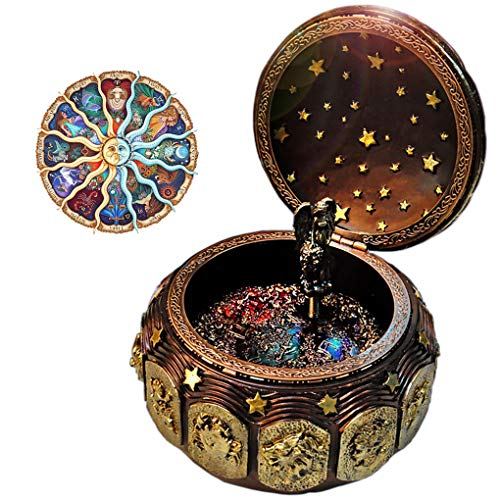 Vintage Music Box with 12 Constellations Rotating Goddess LED lights Twinkling Resin Carved Mechanism Musical Box with Sankyo 18-Note Wind Up Signs of the Zodiac Gift For Birthday Christmas (A1 Gold) ()