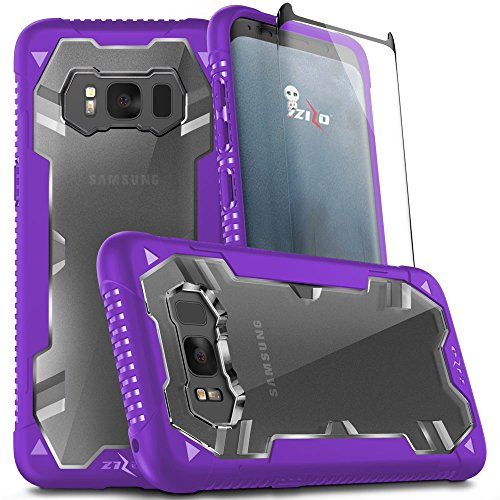 Samsung Galaxy S8 Case, Zizo Proton 2.0 Case [Military Grade Drop Tested] with Tempered Glass Screen Protector for Galaxy S8 Purple/Clear