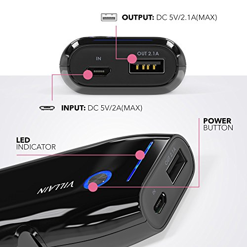 Villain mobile or portable energy Bank Battery Charger 5000mAh principal LG Battery Cells Extra lightweight 120g utilizing smal Pocket Size swiftly Charging for 21 A LED Indicator Ergonomic layout Chargers