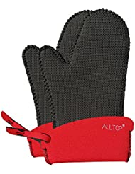 ALLTOP Oven Mitts/Gloves Heat Resistant,500°F at Least 45 Second,for Kitchen BBQ Cooking Baking Barbecue,Black Red,1 Pair