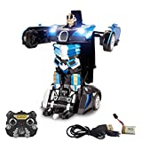 PTL 2.4Ghz Transformers Robot Bugatti Veyron Style Remote Control RC Car - One Touch Transform Talking Autobot 2WD Radio Controlled Drifting Car with Sound FX, Lights, Rechargeable PL9131