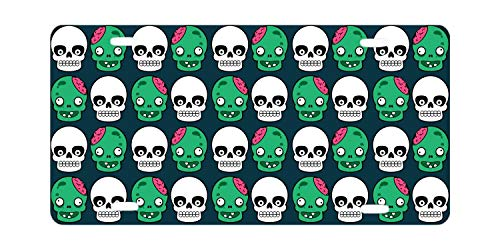 SOIREE Halloween with Skull Custom Aluminum Alloy License Plate Frames Cover for Car License Plate Cover with 4 Holes Car Tag 12