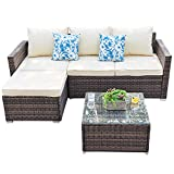 Outdoor Patio Furniture Set - 3 Piece All Weather Wicker  Rattan Sectional Set, Beige Cushions, 2 Throw Pillows (2018 New, Brown)