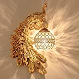 Rindasr LED wall light, peacock light, creative modern decorative lighting bedroom lamp (color : Gold)
