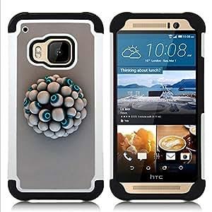 """HTC One M9 /M9s / One Hima - 3 en 1 impreso colorido de Altas Prestaciones PC Funda chaqueta Negro cubierta gel silicona suave (Globo del ojo"""")"""