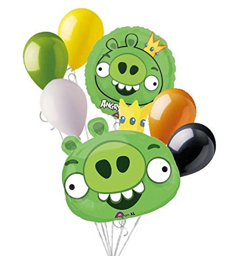 7pc Green King Pig Angry Birds Balloon Bouquet Party Decoration Video Game Movie (King Green Pig)