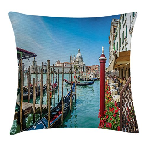 Lunarable Wanderlust Throw Pillow Cushion Cover, Gondola on Canal Grande with Basilica on the Background Sunny Day in Venice, Decorative Square Accent Pillow Case, 26 X 26 Inches, Multicolor (Office Venice Furniture Set)