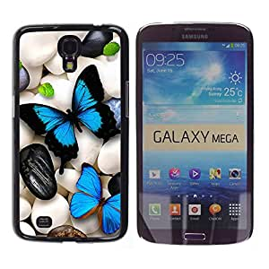 Paccase / SLIM PC / Aliminium Casa Carcasa Funda Case Cover para - Butterfly Neon Iridescent Pebble Art Blue - Samsung Galaxy Mega 6.3 I9200 SGH-i527