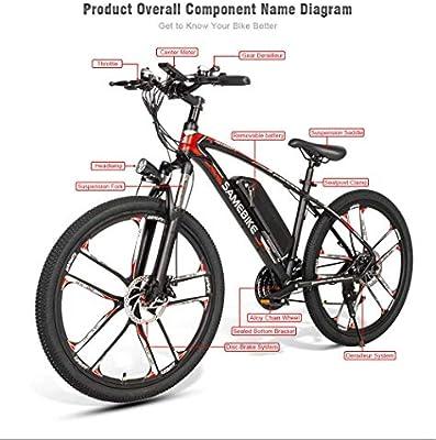 SAMEBIKE MY-SM26 Bicicleta de montaña eléctrica de 26 pulgadas, 48 ...
