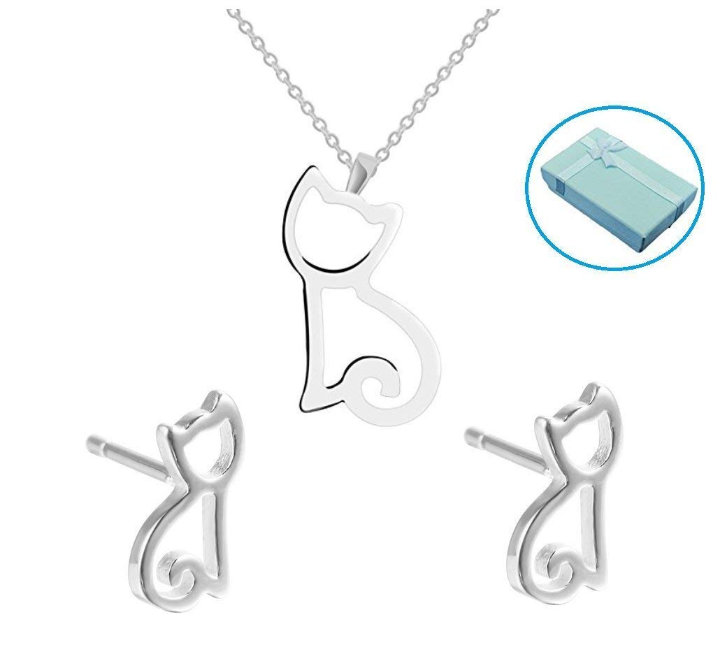 Mity rain Cute Little Cat S925 Sterling Silver Pendant Necklace + Kitten Dangle Earrings,Gift Box Packaging