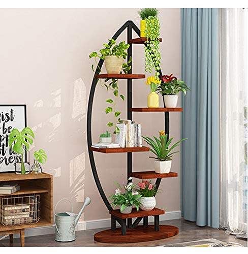 Large Creative Curved Steel Plant Stand, Multipurpose Display Stand for Flowers/Books/Bonsai, Indoor/Outdoor Bonsai Display Shelf for Living Room/Bedroom/Balcony/Patio/Garden/Yard (Leaflike, Black)