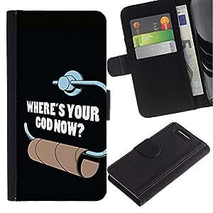 LASTONE PHONE CASE / Lujo Billetera de Cuero Caso del tirón Titular de la tarjeta Flip Carcasa Funda para Sony Xperia Z1 Compact D5503 / Toilet Paper