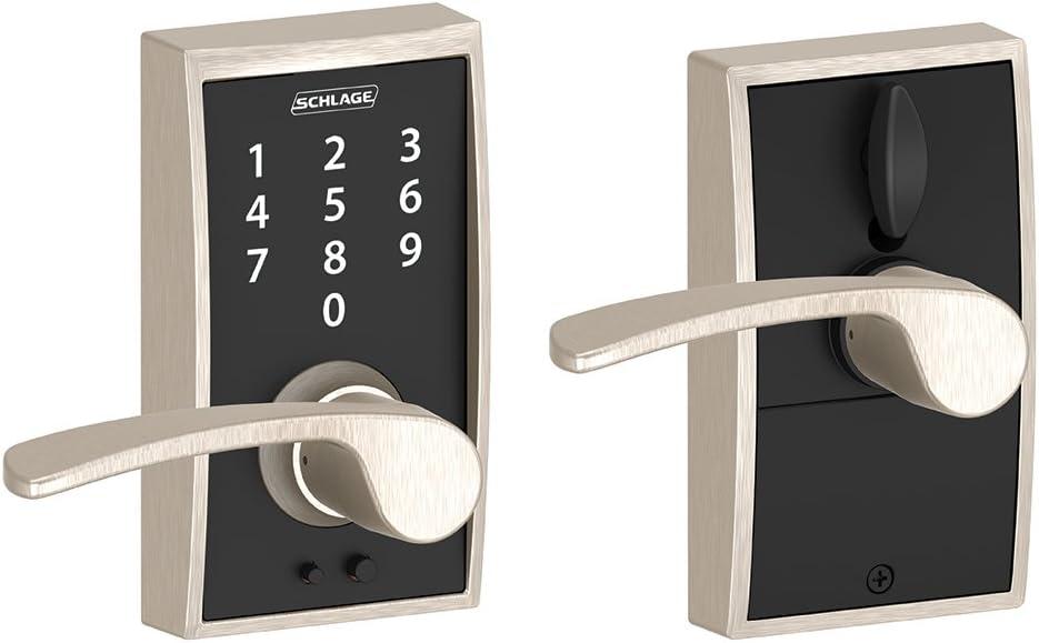 Schlage Touch Century Lock with Merano Lever (Satin Nickel) FE695 CEN 619 MER