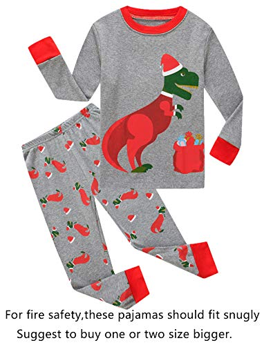 Family Feeling Little Girls Long Sleeve Christmas Pajamas Sets 100% Cotton Pyjamas Toddler Kids Pjs Size 3T Dinosaur