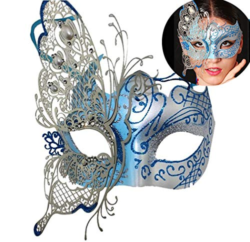 Masquerade Mask Venetian Butterfly Shiny Metal Mardi Gras Mask Multicolor (One size, Silver/Blue) -