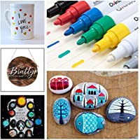 Mugs Wood Oil-Based Waterproof Paint Marker Pen Set for Rocks Painting Plastic Canvas Paint Pens Paint Markers on Almost Anything Never Fade Quick Dry and Permanent Glass DIY Craft Fabric