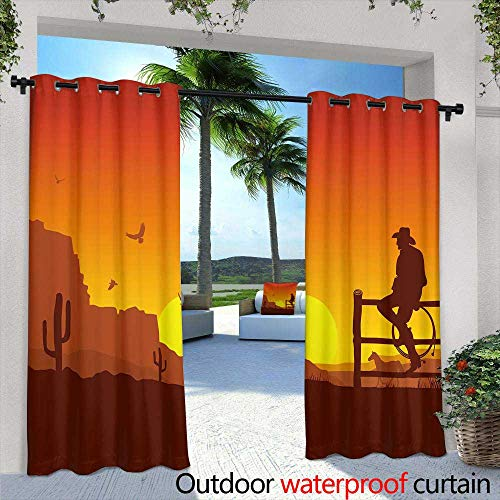 Lightly Outdoor Blackout Curtains,American west Legend Cowboy Worn hat ATOP Gloves and Gun in Holster on an Old Western Hotel,W84 x L108 Silver Grommet Top Drape (The Legend Of The Golden Gun Western)