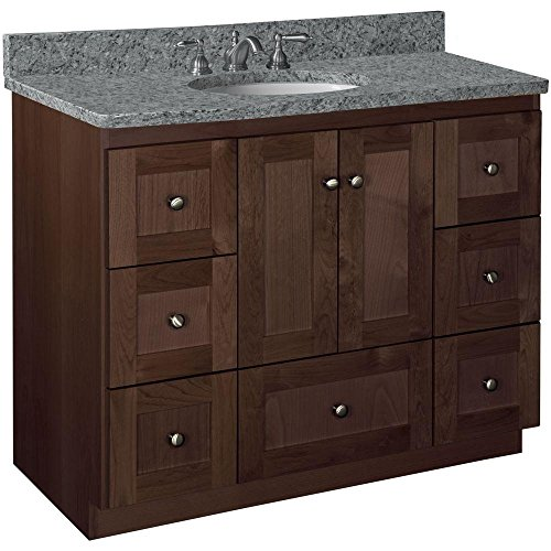 Alder Vanity - Simplicity by Strasser Shaker 42 in. W x 21 in. D x 34.5 in. H Door Style Vanity Cabinet Only in Dark Alder