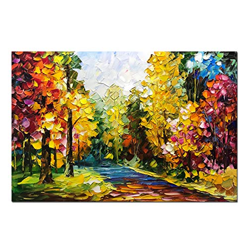 Desihum-Hand-Painted Landscape Wall Art on Canvas Colorful Forest Oil Painting Modern Stretched and Framed Artwork for Living Room 24x36 -