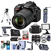 Nikon D5600 DSLR Camera Kit with AF-S DX NIKKOR 18-140mm f/3.5-5.6G ED VR Lens, Black - Bundle With Camera Case, 64GB SDXC Card, Video Light, Spare Battery, Tripod, Software Package And More