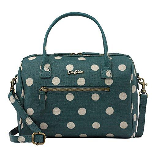 Cath Kidston Embossed Mini Bowler Bag Crossbody Handbag Polka Button Spot Rich Green 16AW (Bowler Small Handbag)