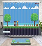Amavam Bathroom 2-Piece Suit Pixel Art Game Scene With Ground Grass Trees Sky Clouds Character Coins Treasure Chests And Shower Curtains And Bath Mats Set, 71'' Wx71 H & 31'' Wx20 H