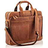 """Full Grain Leather Laptop Messenger Bag for Men – Fits 15.6"""" Laptop's, Phones, Files & All Your Accessories – Our Computer Briefcases are Built with Handmade Soft Natural Leather, Makes a Perfect Gift"""