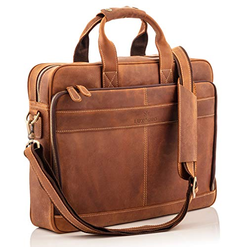 Full Grain Leather Laptop Messenger Bag for Men