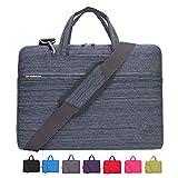 Laptop Case, Laptop Shoulder Bag, CROMI 15 - 15.6 Inch Simplicity Slim Briefcase Commuter Bag Business Sleeve Carrying Handle Bag Nylon Waterproof Notebook Shoulder Messenger Bag (Stripe Blue)