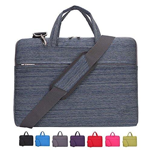 Laptop Case, Laptop Shoulder Bag, CROMI 14 14.1 Inch Simplicity Slim Briefcase Commuter Bag Business Sleeve Carrying Handle Bag Nylon Waterproof Notebook Shoulder Messenger Bag (Stripe Blue)