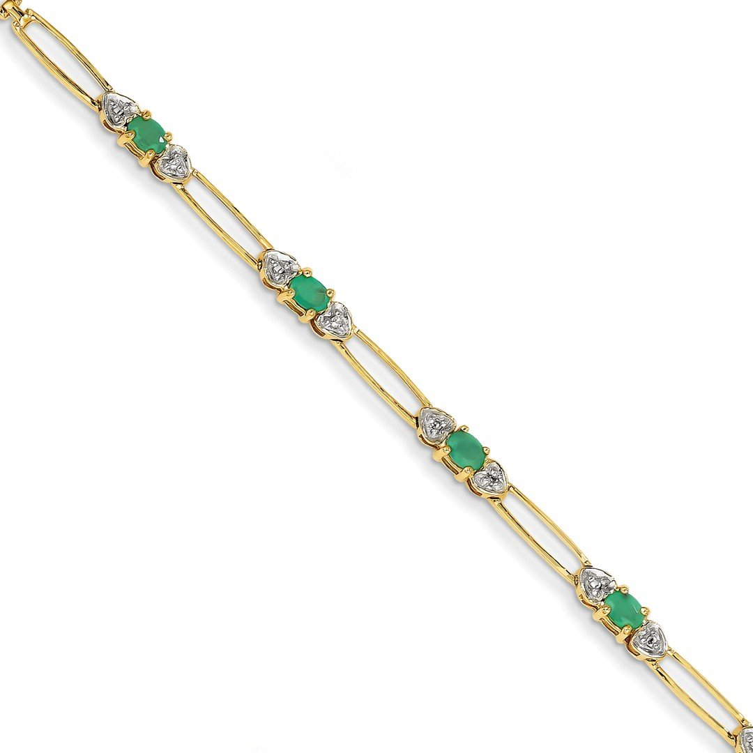 ICE CARATS 14k Yellow Gold Diamond Green Emerald Bracelet 7 Inch /love Gemstone Fine Jewelry Gift Set For Women Heart