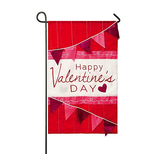 Happy Valentines Day Celebration Hearts Applique Garden Flag ()
