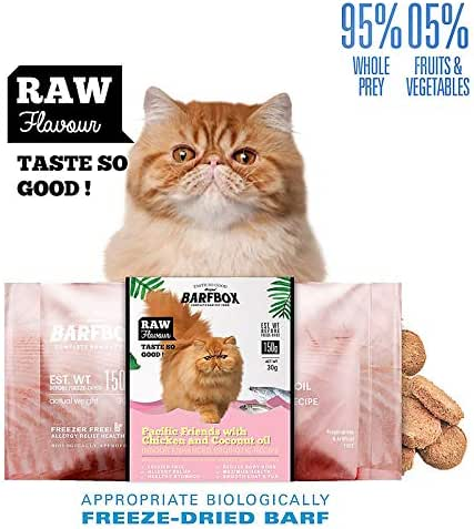 BARFBOX Freeze-Dried Barf Complete Raw Cat Food High Protein, Formula Pacific & Chicken Mixed Coconut Oil, Indoor Enhanced Probiotic Recipe Healthy for Short & Long Hair Cat Persian 30g.