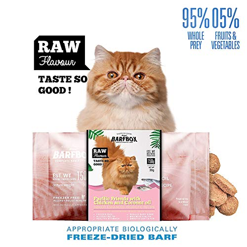 BARFBOX Freeze-Dried Barf Complete Raw Cat Food High Protein, Formula Pacific & Chicken Mixed Coconut Oil, Indoor…