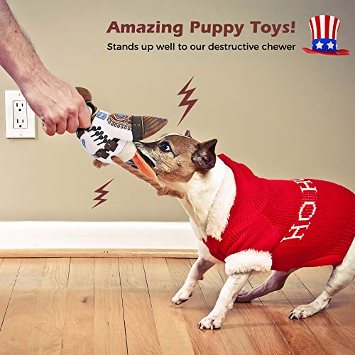 Plush Toys for Dogs Chew Toys American Soldier 1 Squeaky Puzzle Plush Dog Toy - Interactive Activity for Dogs