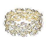 EVER FAITH Bridal Gold-Tone Floral Leaf Elastic Bracelet Clear Austrian Crystal