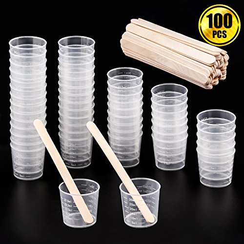WXJ13 50 Pack 30ml Plastic Graduated Cups Transparent Scale Cups with 50 Pack Wooden Stirring Sticks for Mixing Paint, Stain, Epoxy, Resin