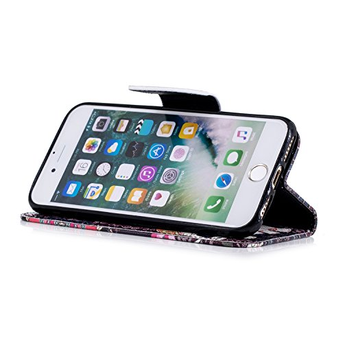 Coque 8 Protection tui Case COZY Cuir Flip Magntique 7 Housse Portefeuille pour iPhone Housse en PU tui pour 8 imprim iPhone HUT Coque cuir de iPhone fleur de lphant cuir Suppor en iPhone Stand Cover avec 7 Etui prYwRY5qa