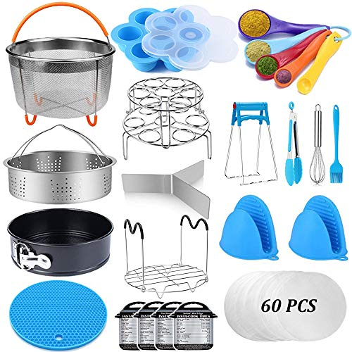 Pressure Cooker Accessories Set Compatible with Instant Pot Accessories 6 qt 8 Quart - Steamer Basket, Springform Pan, Stackable Egg Steamer Rack, Egg Bites Mold, Kitchen Tongs & More