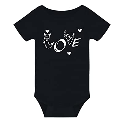 Amberetech Infant Baby Boy Girl Bodysuit Animais Love Letter Romper Outfit Summer Onesies