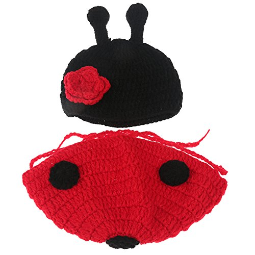 [Jubileens Cute Baby Infant Ladybug Crochet Costume Photo Photography Prop Clothes] (Ladybug Soft Costumes)