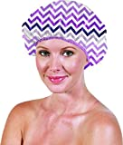 Betty Dain Socialite Collection Terry Lined Shower Cap, Chic Chevron