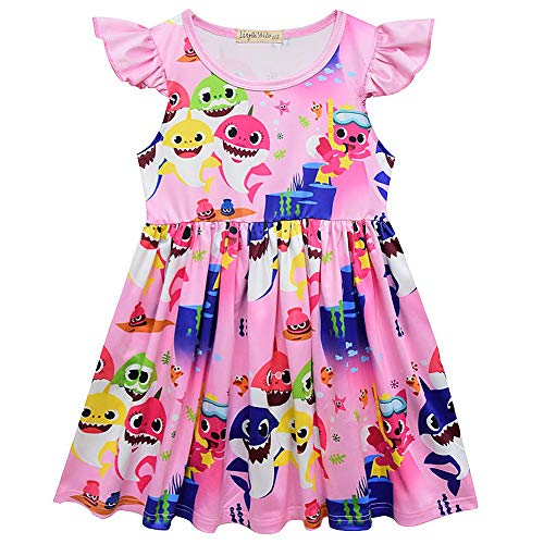 Crazy Gotend Girls Baby Shark Casual Party Sleeveless Dress Pink 4-5Y/120 ()