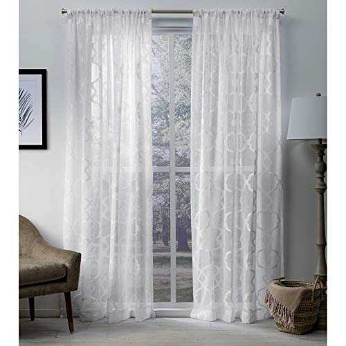 Exclusive Home Curtains Muse Geometric Jacquard Linen Sheer Window Curtain Panel Pair with Rod Pocket, 54x84, Winter White, 2 Piece