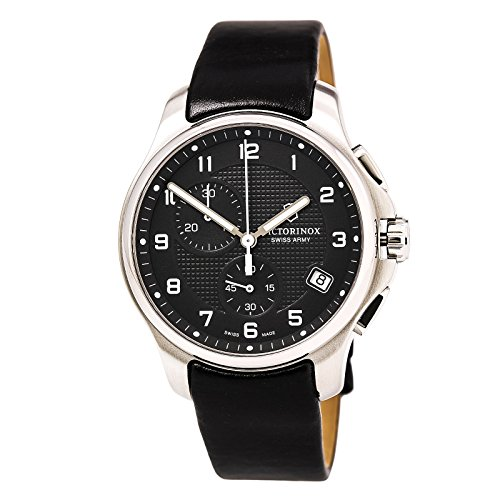Victorinox Swiss Army Black Dial SS Leather Chrono quartz Men's Watch 241552