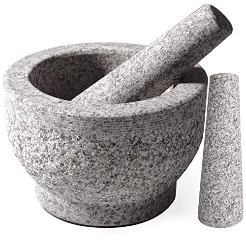 Tera Mortar and Pestle Set 2 Cup-Capacity, Include 2 Pestles, Silicone Garlic Peeler, 2 Stick-on Rubber Pads for Base, Unpolished Granite Mortar and Pestle Spice Grinder, 5.5 Inch